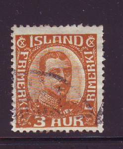 Iceland Sc 109 1920 3 aur bistre brown Christian X stamp ...