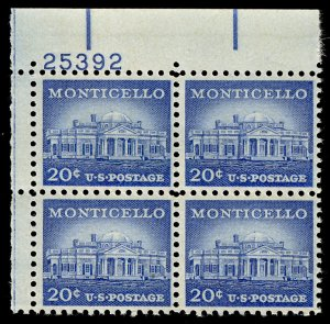 US #1047 PLATE BLOCK, VF/XF mint never hinged, 20c Monticello, post office fr...