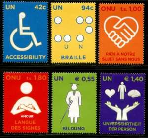 UNITED NATIONS Sc# NY 960-1 GE 485-6 VI 427-8 2008 Persons with Disabilities MNH