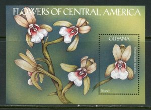GUYANA  FLOWERS OF CENTRAL AMERICA  SOUVENIR  SHEET I  MINT NH