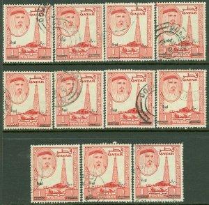 EDW1949SELL : QATAR 1966 Sc #108G. 1 Riyal Overprint 11 stamps VF, Used Cat $550