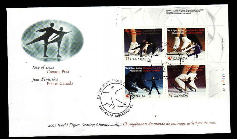 Canada-Sc#1896-9-stamps [UR plate block] on FDC-Sports-Figure Skating Championsh