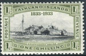 FALKLAND ISLANDS-1933 Centenary 1/- Black & Olive Green LMM Sg 134