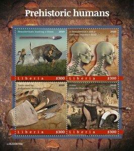 YEAR 2020/10- LIBERIA- PREHISTORIC HUMANS         4V complet set    MNH ** T