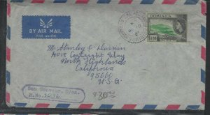 DOMINICA COVER (P1902B) 1963 QEII $1.20 REG COVER FROM SAN SAUVEUR TO USA