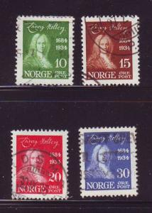 Norway Sc 158-61 1934 250th Anniversary birth of Holberg stamp set used
