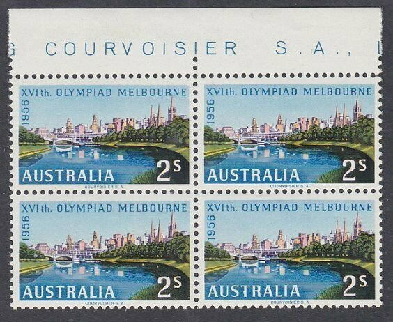 AUSTRALIA 1956 Olympic Games 2/- block of 4 MNH..............................860