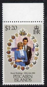 Pitcairn Islands 1981 Royal Wedding $1.20 with inverted w...