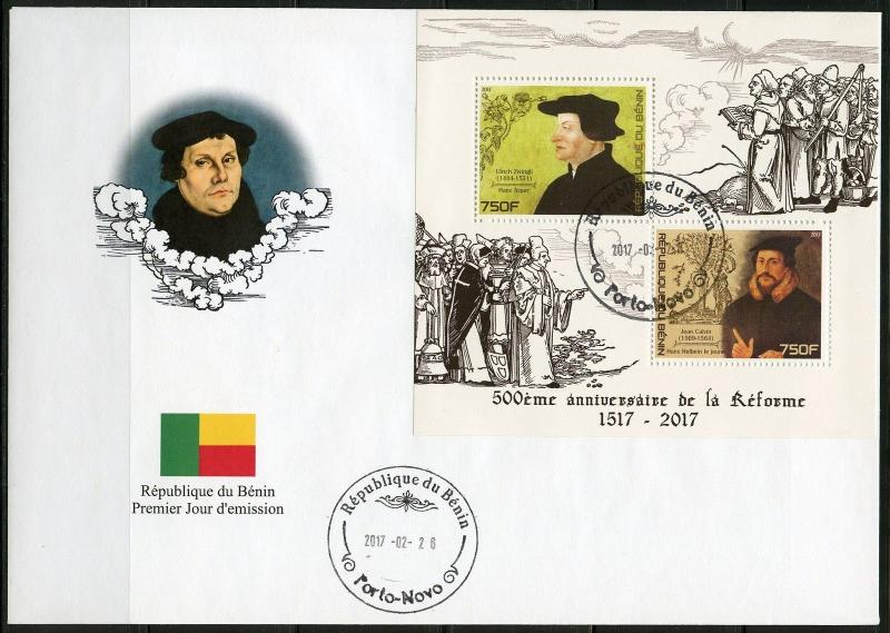 BENIN   2017  500th ANN OF THE PROTESTANT REFORAMATION  SHEET FDC