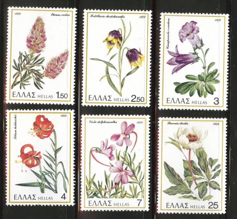 GREECE Scott 1243-1248  MNH** 1978 Flower set