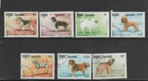 CAMBODIA #1049-1055 1990 DOGS MINT VF NH O.G CTO