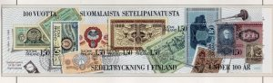 Finland Sc 706 1985 Banknotes stamp booklet pane used