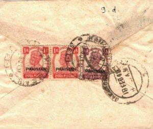 PAKISTAN Cover INDIA KGVI Overprints Karachi Air Mail Jamnagar 1948 DA20