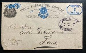 1893 Lima Peru Postal Stationery Postcard Cover Locally Used