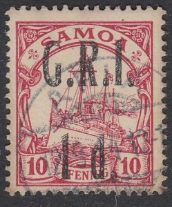 SAMOA 1914 GRI opt on German Samoa : 1d on 10pf used ........ ..............C488