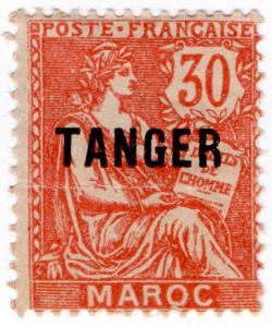 (I.B) French Morocco Postal : Tanger Overprint 30c