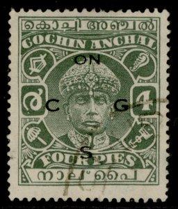 INDIAN STATES - Cochin GVI SG O54a, 4p green, FINE USED.