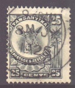 Tanganyika Scott 17 - SG78, 1922 Giraffe 25c used