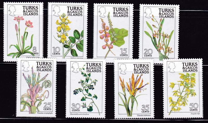 Turks & Caicos Islands 1990 Scott 790-805 Complete (16) FLOWERS Pristine NH/(**)