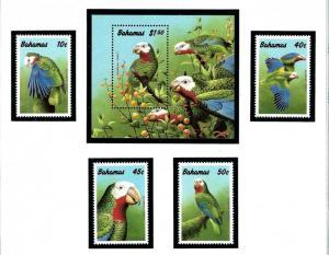 Bahamas 700-04 MNH 1990 Parrots