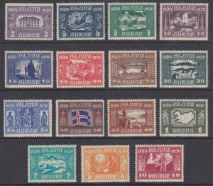Iceland Sc 152-166 MLH. 1930 Althing Millenium, scarce