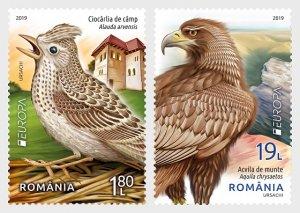 2019 Romania Birds Europa (2) (Scott NA) MNH