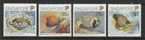 1989 Singapore -Sc 548-51 - 4 singles - MNH VF - Fish
