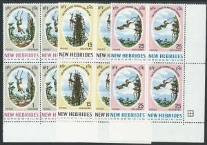 NEW HEBRIDES 1969 Pentecost Land Divers set blocks of 4 MNH................50946