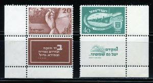 ISRAEL SCOTT#33/34  TABS 40 ag PARTIAL SEPARTION BETWEEN TAB & STAMP  MINT NH