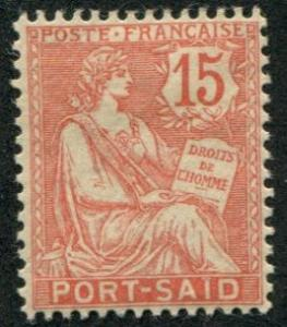 Fr Offices Port Said SC#24 Rights of Man 15c, mint hinged