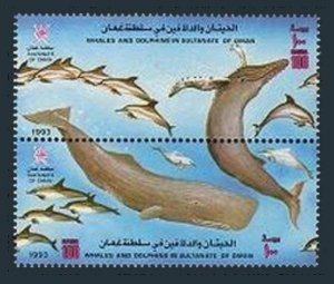 Oman 362-363a,363b,MNH.Michel 372-375 Bl.10. Whales,Dolphins in Sultanate,1993.