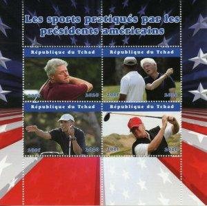 Chad Golf Stamps 2020 MNH Bill Clinton Donald Trump Barack Obama Sports 4v M/S