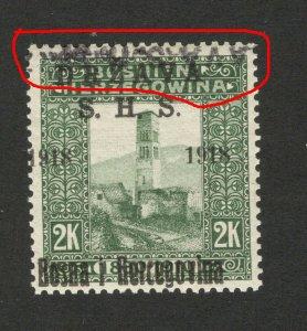 BOSNIA - SHS -MNH STAMP, 2 K - ERROR -TETE BECHE OVERPEINT DRŽAVA S.H.S.-1918