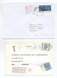 Pair of Belgium covers - postage due on water meter card, frama stamps [L.98]
