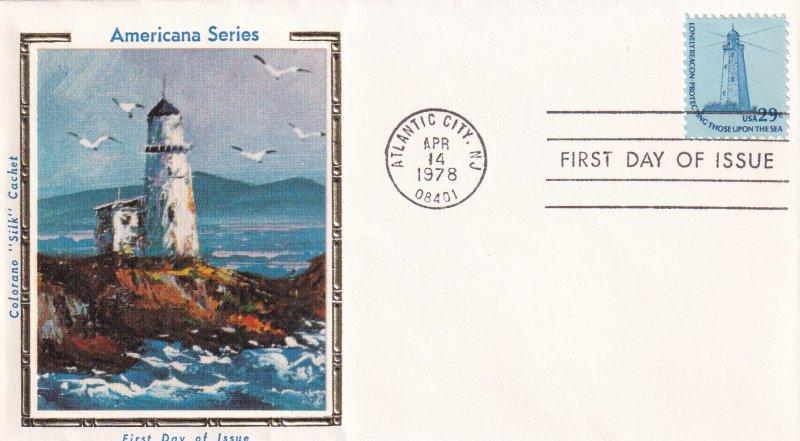1978, 29c Lighthouse, Colorano Silk, FDC (E11857)