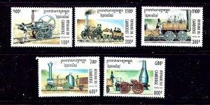 Cambodia 1446-50 MNH 1995 Early Trains