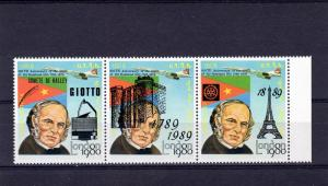Eritrea 1989 Halley's Comet/Rotary/Concorde Strip (3) Perforated MNH