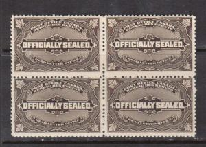 Canada #OX4 VF/NH Block **With Certificate**