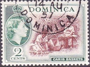 DOMINICA 1954 QEII 2 Cents Chocolate & Myrtle-Green SG142 FU