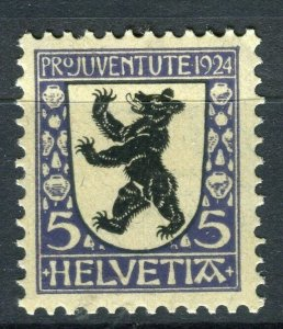 SWITZERLAND; Early Pro-Juventute issue 1924 Mint hinged 5c. value