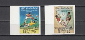 Libya, Scott cat. 827-828. IMPERF, Volleyball & Soccer issue. ^
