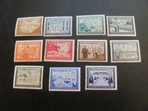 GERMANY 1939 MNH SC# B148/159 CONFERENCES MISSING ONE LOW # (113) $81