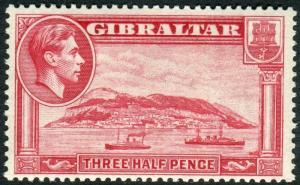 GIBRALTAR-1938-51 1½d Carmine Perf 13½ WATERMARK SIDEWAYS unmounted mint Sg 123
