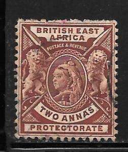 British East Africa 74: 2a Queen Victoria, Lions, used, F