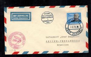 1934 Germany Graf Zeppelin Cover 7th South America Flight to Brazil # C56 LZ 127