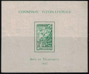 Martinique Paris International Art Expo Sht MNH 1937 MNH Imperf.