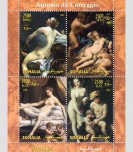 Somalia 2004 ANTONIO CORREGGIO Nudes Paintings Sheet Perforated Mint (NH)
