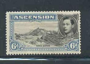 Ascension Sc 45a 1944 6 d G VI & Mtns pf 13 1/2 stamp mint