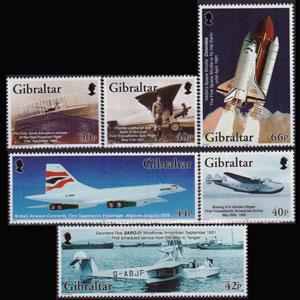 GIBRALTAR 2003 - Scott# 932-7 Flight Cent. Set of 6 NH