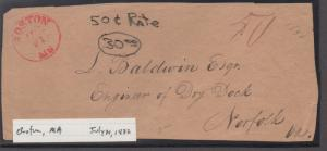 *US Stampless Cover, Boston, MA,  July 21, 1832, 50 Cent Rate, Front Only